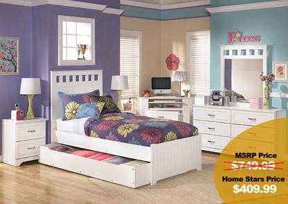 Lulu Twin Panel Bed w/ Storage, Dresser & Mirror