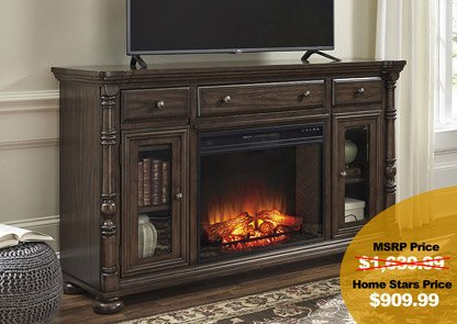 Brosana Grayish Brown XL TV Stand w/ Infrared Fireplace Insert