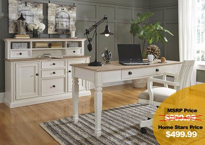Sarvanny Two-tone Home Office Large Leg Desk w/ Chair