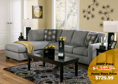 Zella Charcoal Left Facing Chaise Sectional