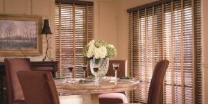 Woodwind® Wood Alloy Blinds in color Deep Cherry.
